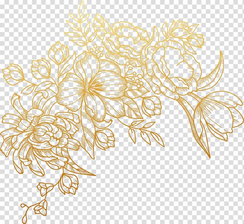 Euclidean Flower, painted golden flowers, brown floral.