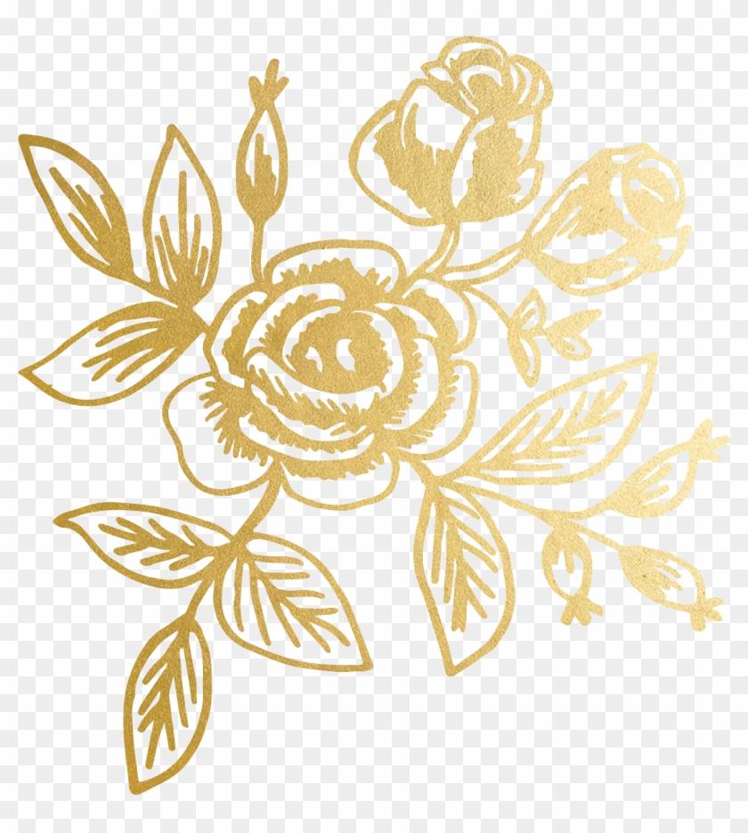 gold floral png #6