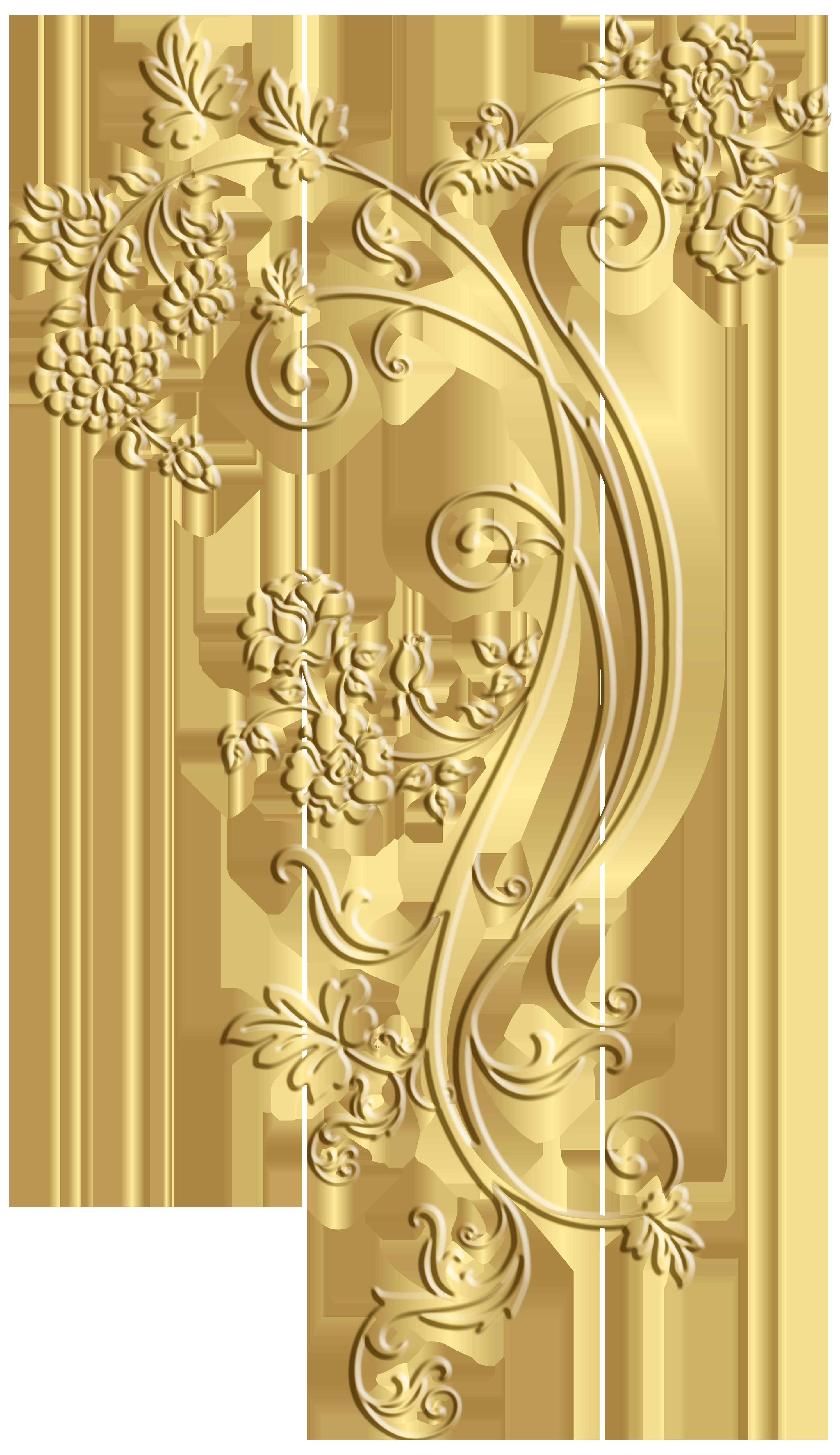 Gold Floral Ornament Frame Clip Art Image.