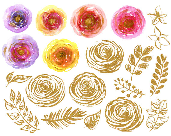 Watercolor & gold floral clipart: 20 flowers leaves, glitter and.