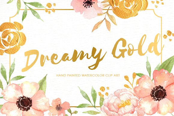 Dreamy Gold Flower Clipart ~ Illustrations on Creative Market.