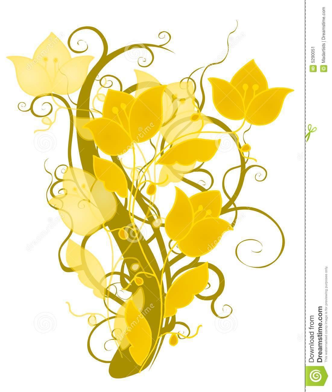 Decorative Gold Flower Design Stock Image.