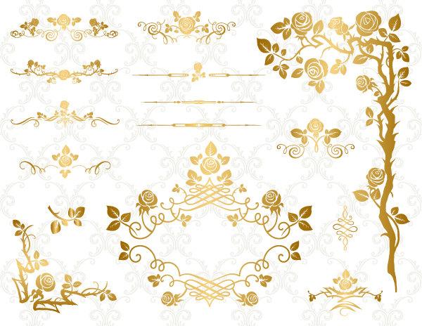 GOLD Digital Flower Frame Clipart Flourish Swirl Frame Border.