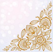 Gold Curling Flower Clip Art, Vector Gold Curling Flower.