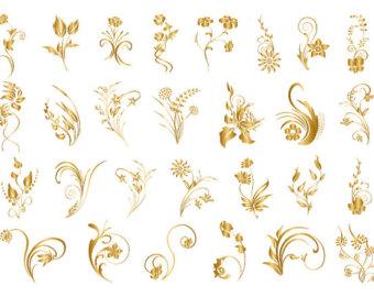 Vintage Flowers Clipart Clip Art and Vectors, Flower Decoration.
