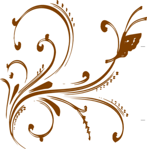 Gold Floral Design With Butterfly Clip Art at Clker.com.