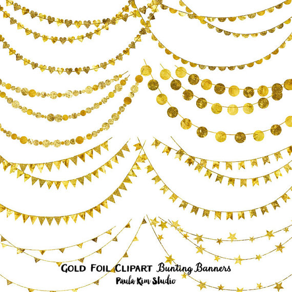 Pretty Gold Foil Bunting Clipart Bunting Banner by PaulaKimStudio.