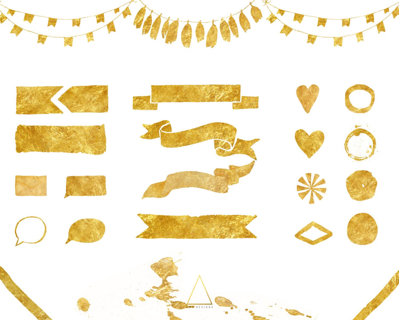 Gold Foil Digital Graphic Design Clip Art Elements.