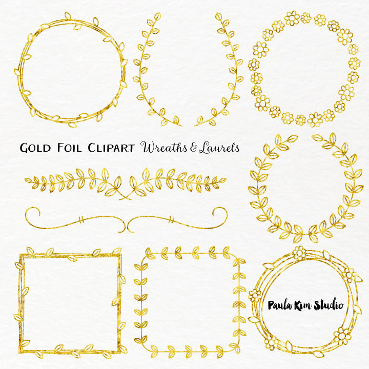 Gold wreath clipart.