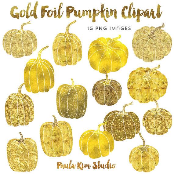 Gold Clip Art, Foil Pumpkin Clipart, Thanksgiving Clipart Instant.