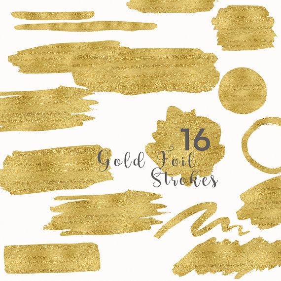 Gold Foil Strokes Clip Art Gold Foil Splotches by PaperlyStudio.