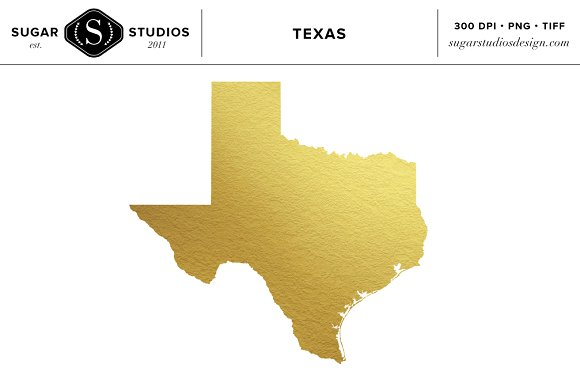 Texas State Gold Foil Clip Art ~ Objects on Creative Market.