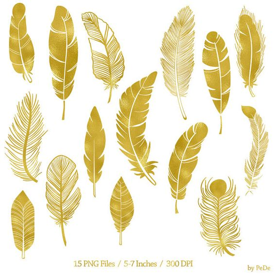 BUY 3 FOR 6 USD, Gold feather clip art, gold foil feathers clipart.