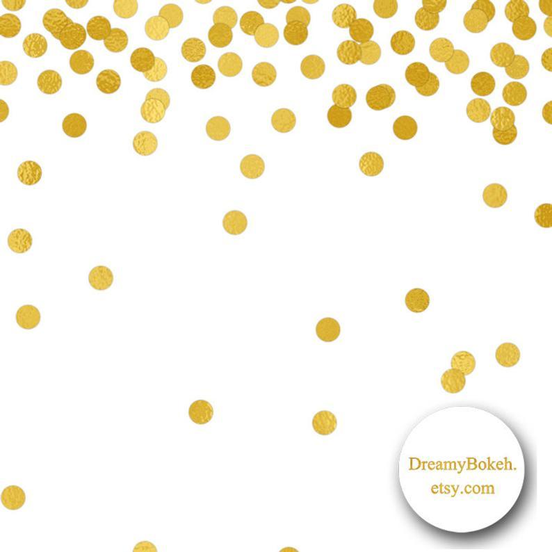 gold foil confetti digital paper frames borders small circles 12x12 inch  jpg png instant download wedding invitation gold confetti clipart.