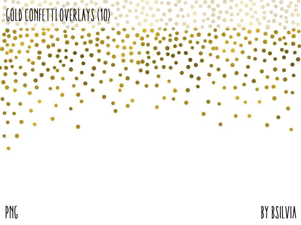 Gold Confetti Overlays, Gold Foil Confetti Transparent PNG files.