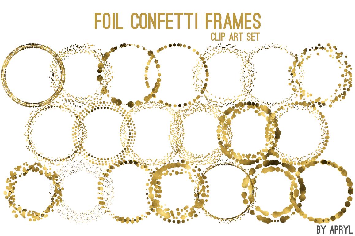 Gold Foil Round Confetti Frames.