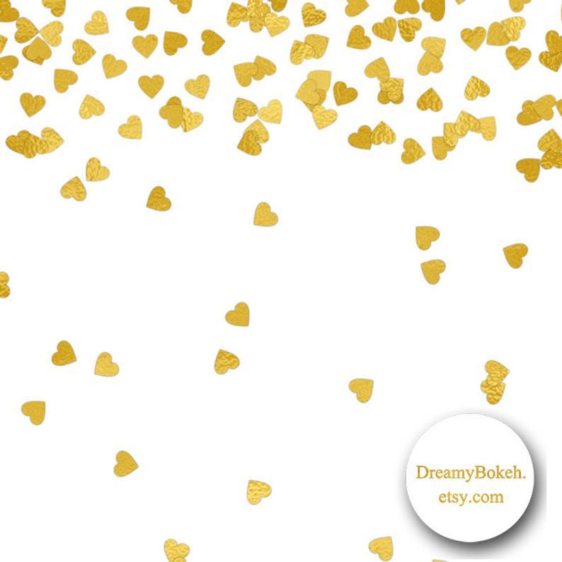 gold foil hearts confetti digital paper frames borders 12x12 inch jpg png  overlay instant download wedding invitation gold confetti clipart.