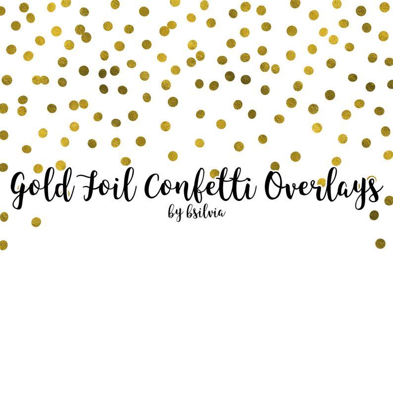 Gold Confetti Overlays, Gold Foil Confetti Transparent PNG files, Gold  Confetti Clip Art, Digital Gold Confetti Photo Overlays set of 10.