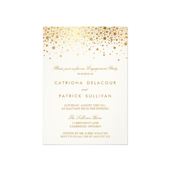 Faux Foil Confetti (Gold and White) Engagement Party Invitation.