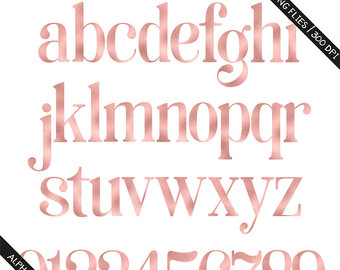 BUY 3 FOR 8 USD Rose gold foil & glitter alphabet by PeDeDesigns.