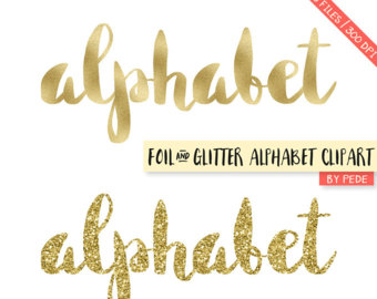 Items similar to BUY 3 FOR 7 USD, Gold glitter alphabet clipart.