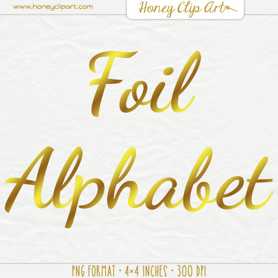 Gold Foil Letter Clip Art Digital Foil Writing Typography by.