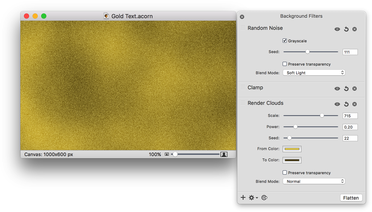 Acorn: Gold Text.