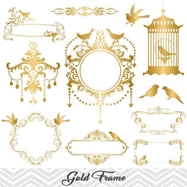 Golden Frame Border Clipart, Gold Flourish Swirl Frame Clip.