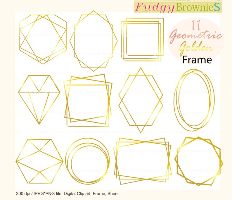 Gold Wedding Frames clipart , Geometric Golden frames Clipart, Gold frames  digital scrapbook frames.A.