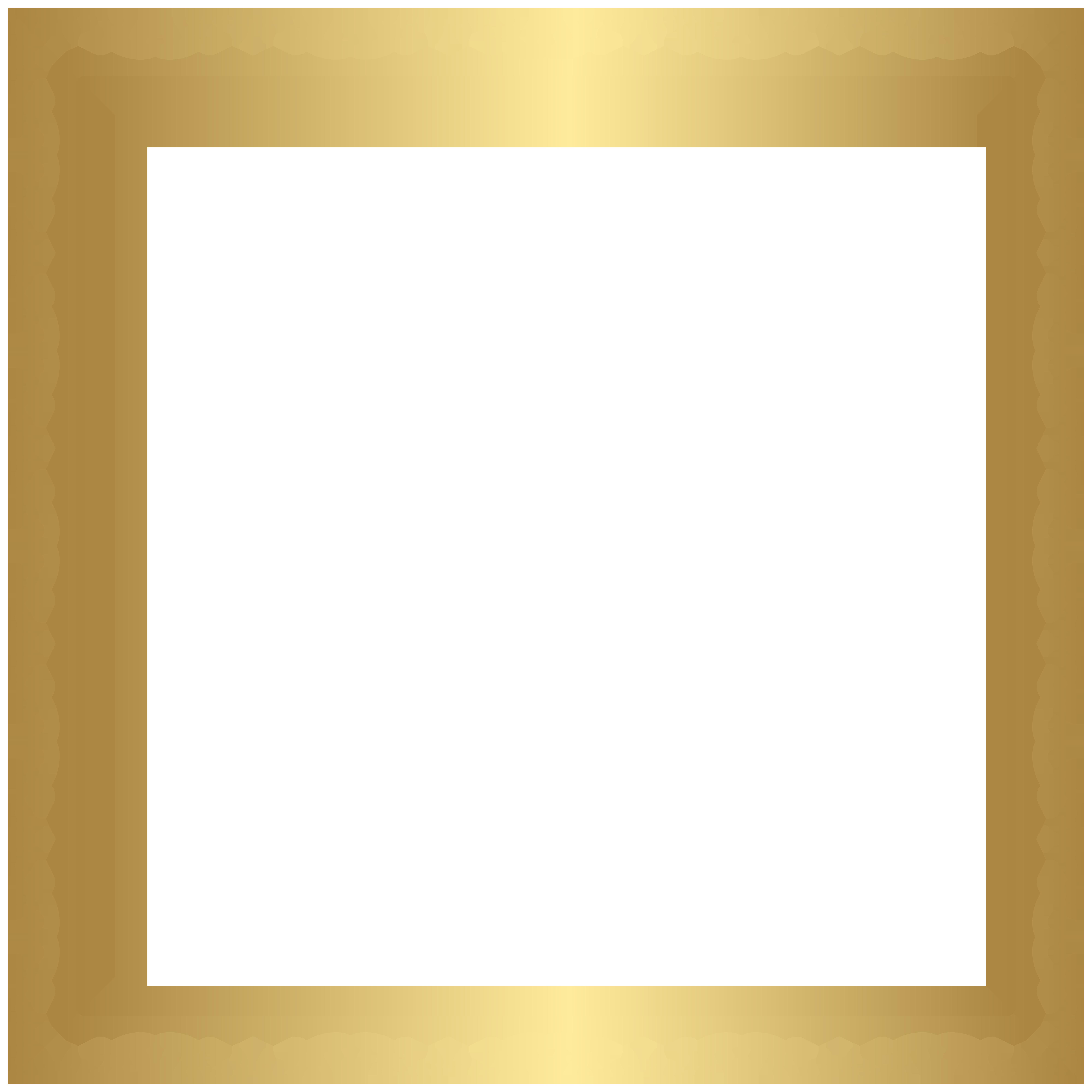 Border Frame Gold Transparent PNG Clip Art Image.