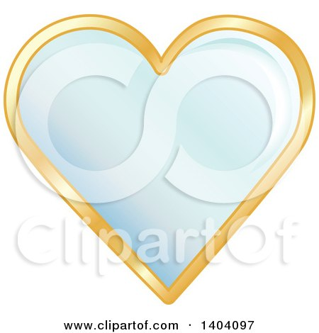 Clipart of a Blue Heart in a Gold Frame.
