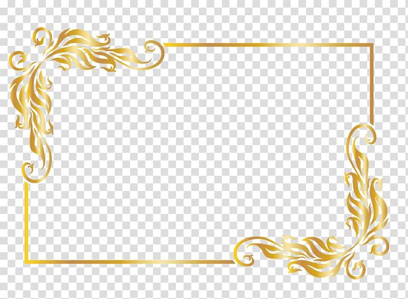 Gold frame, rectangular gold frame illustration transparent.