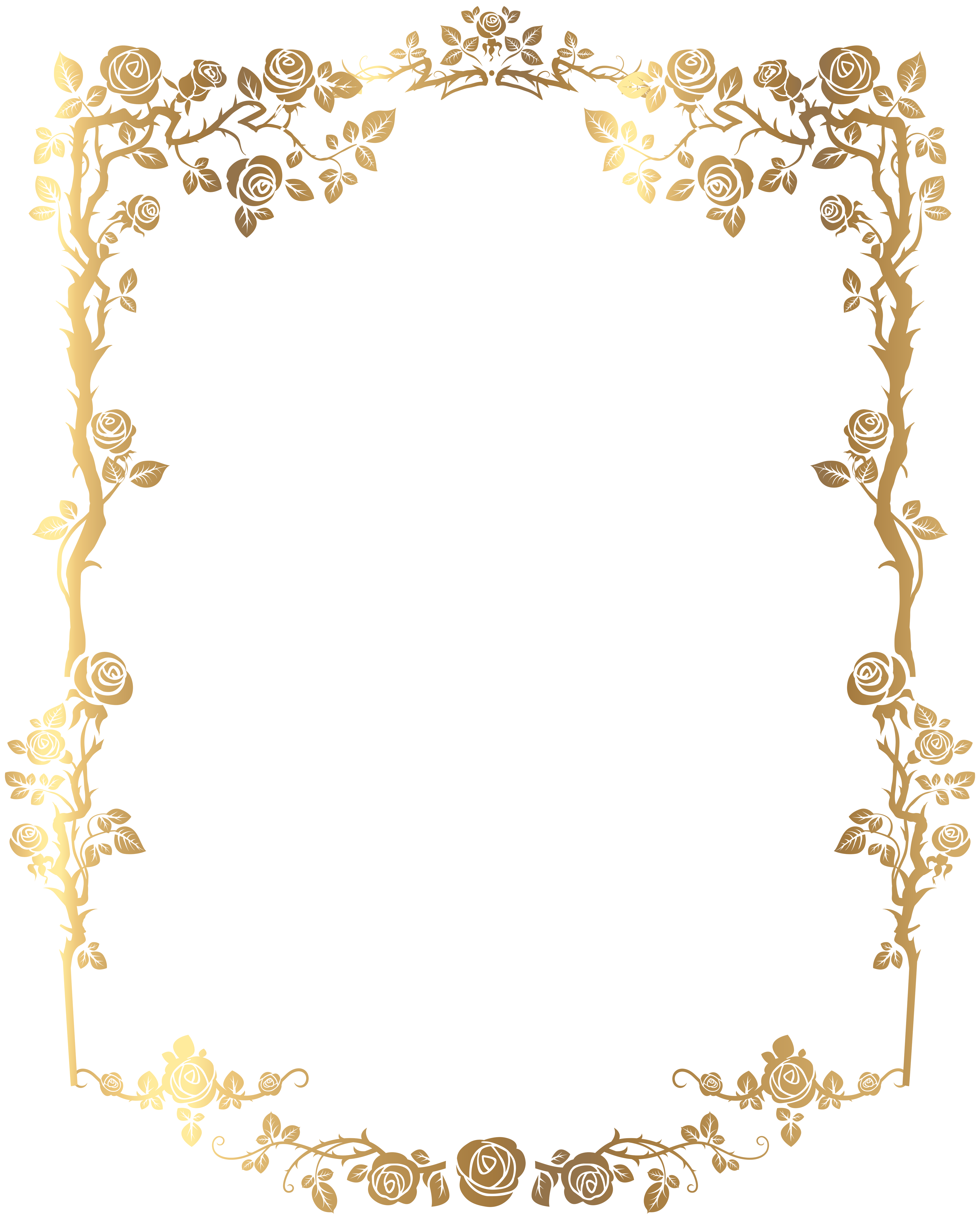 Download Picture Golden Frame French Rectangular Floral Border.