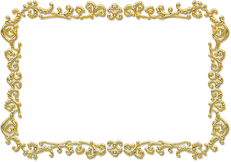 Rectangular Gold Photo Frame PNG Transparent.