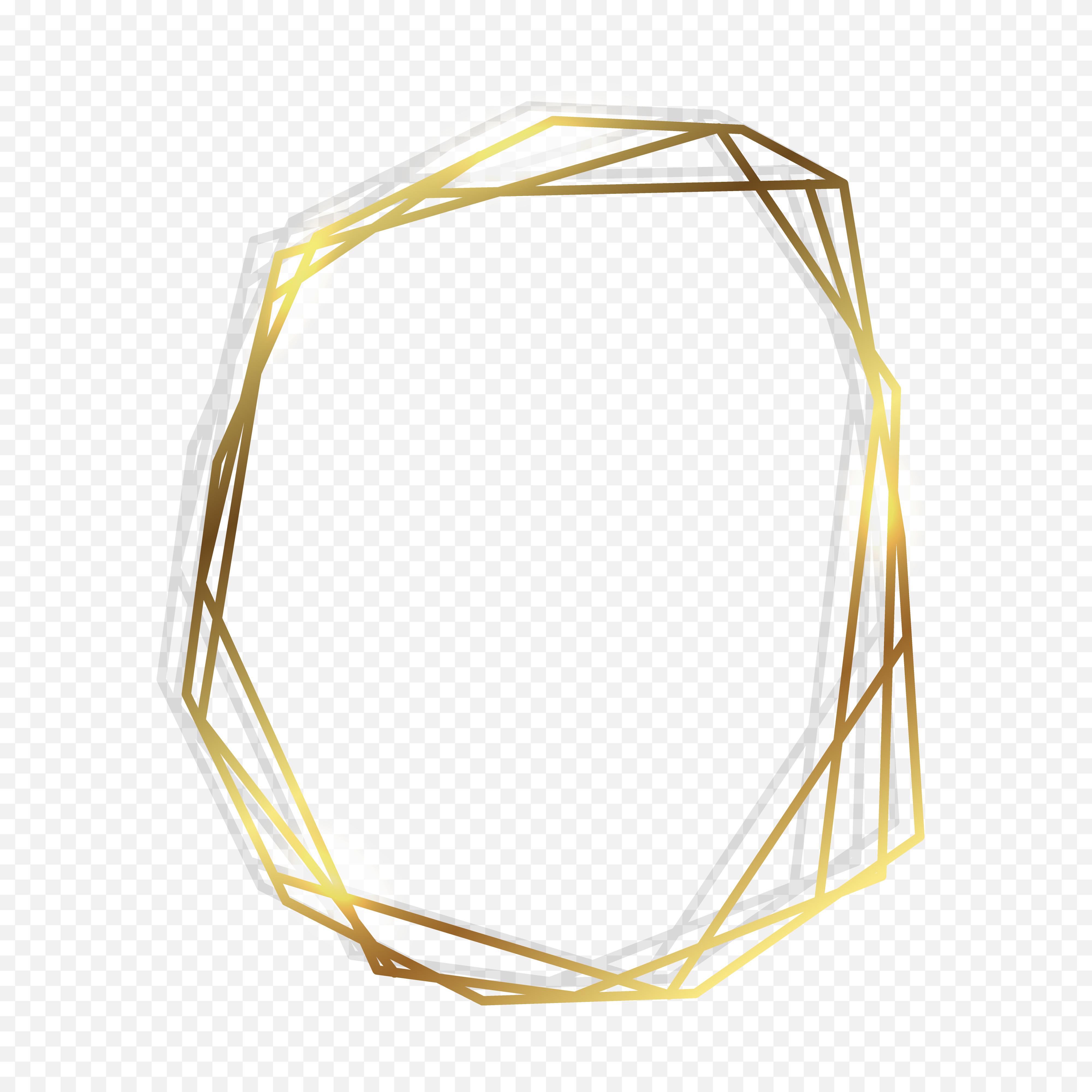Gold geometric frame.