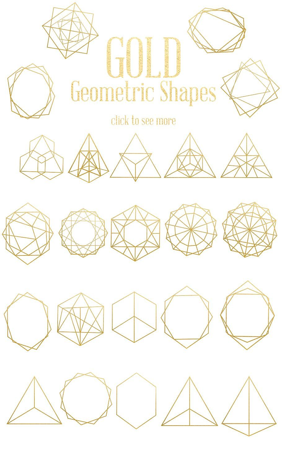 Gold Geometric Shapes by Dream in Watercolor on.