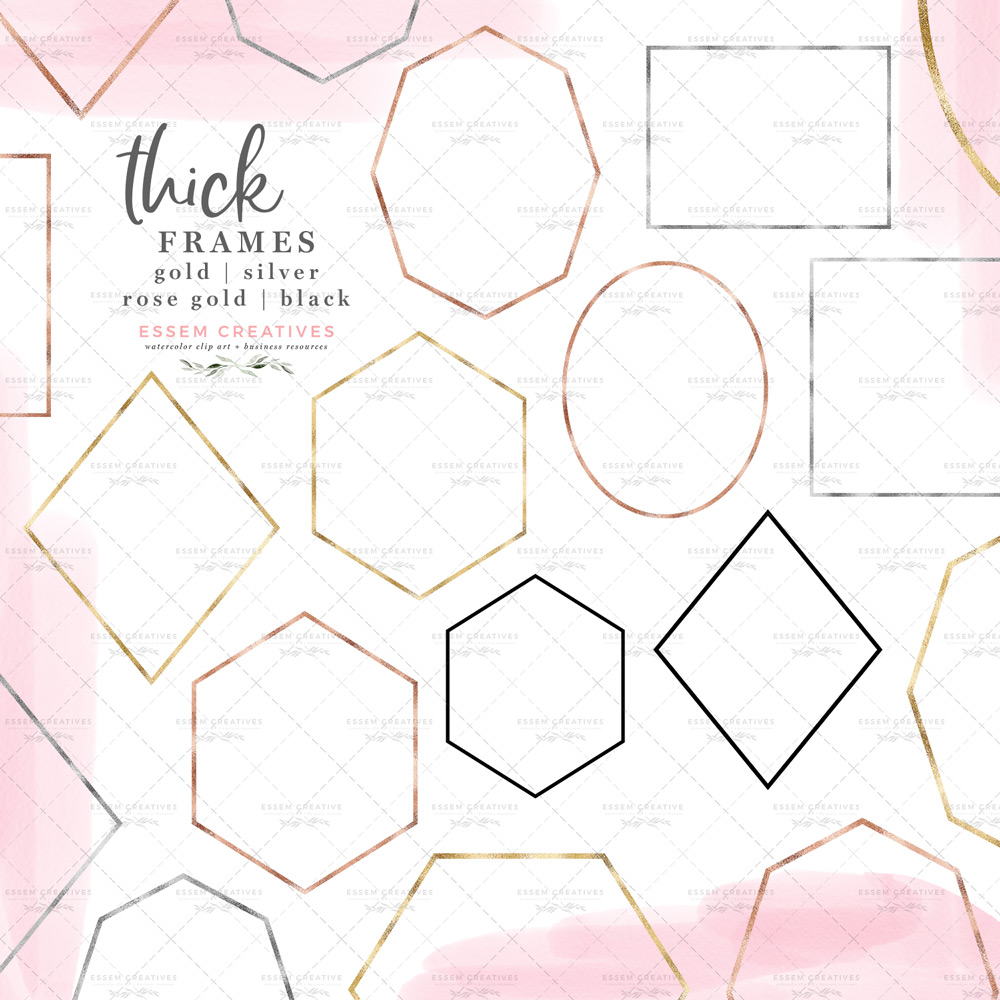 Thick Geometric Empty Frames Shapes Clipart Graphics in Gold Foil Rose Gold  Silver and Black.