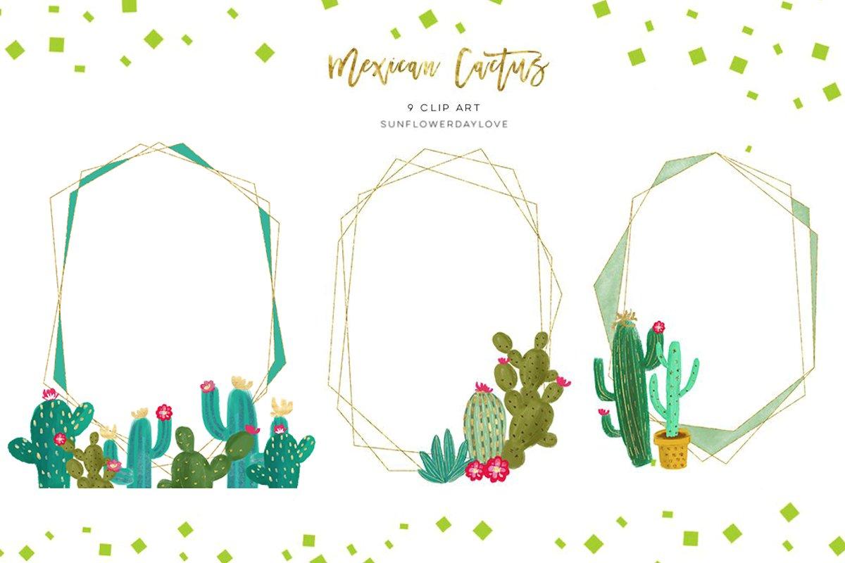 Cactus Gold Geometric Frames Clipart.