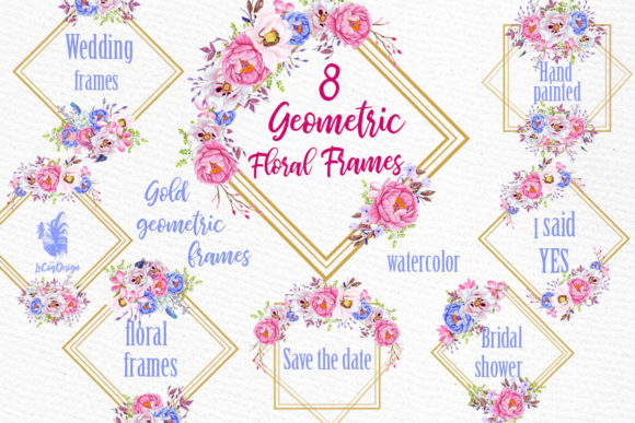 Geometric Floral Gold Frames Clipart.