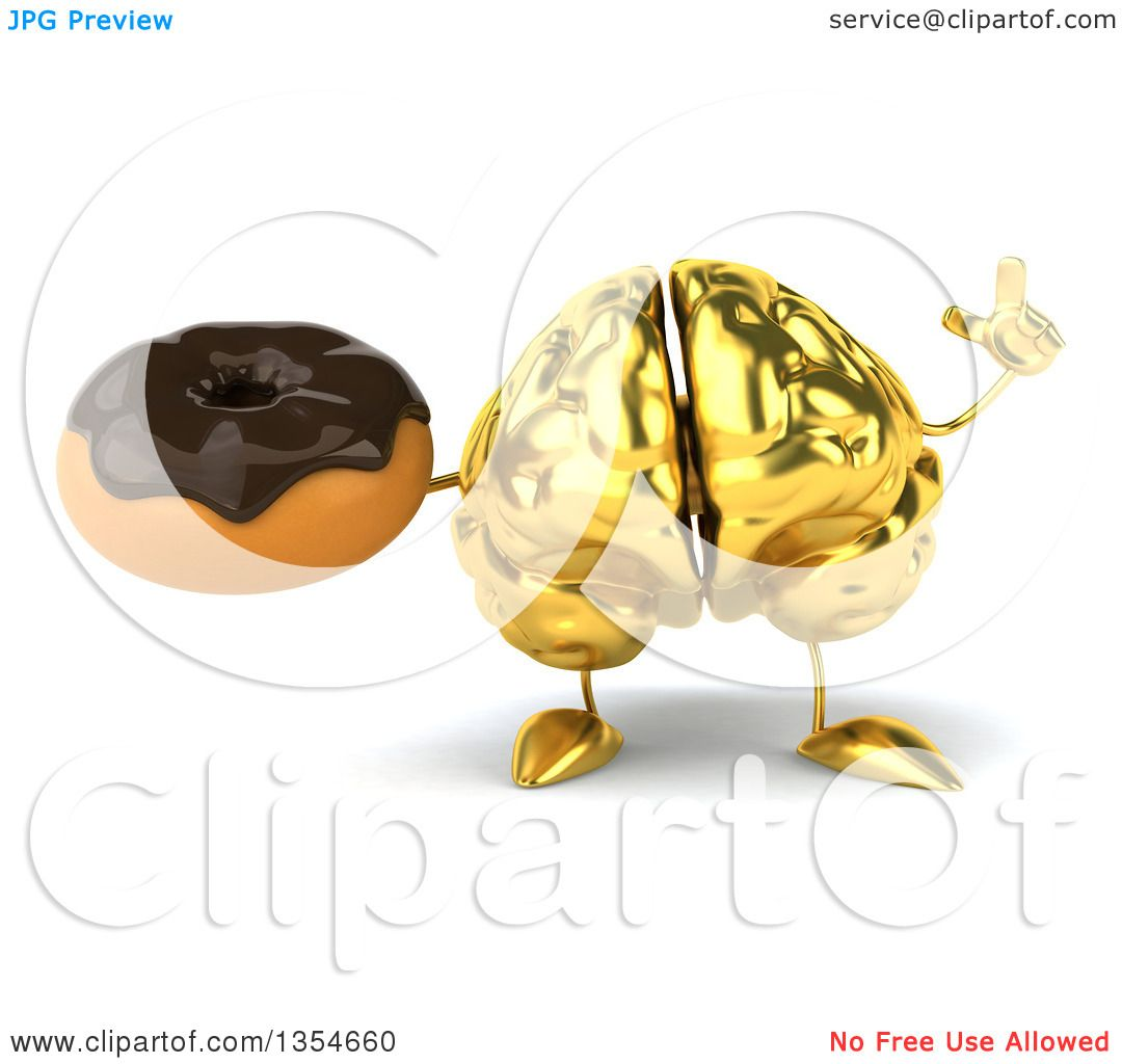 Clipart of a 3d Gold Brain Character Holding up a Finger and a.