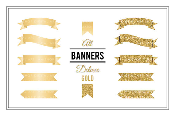 Banner Clip Art \'Deluxe Gold\' Golden Glitter Digital Clipart.