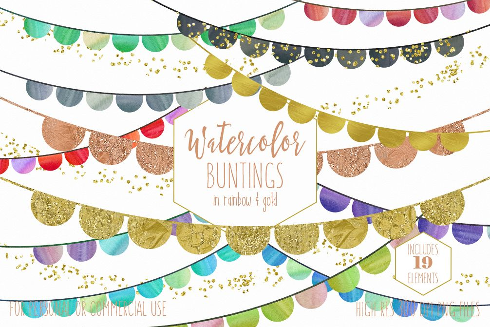 RAINBOW BUNTING BANNER Clipart Watercolor Buntings & Metallic Gold Glitter  Confetti Fun Cute Birthday Party Graphics.