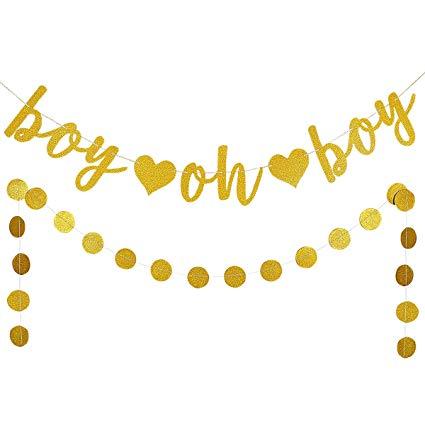 Boy Oh Boy Gold Glitter Banner.