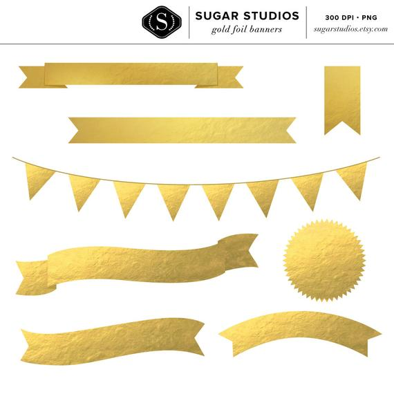 8 High Quality Gold Foil Banners.