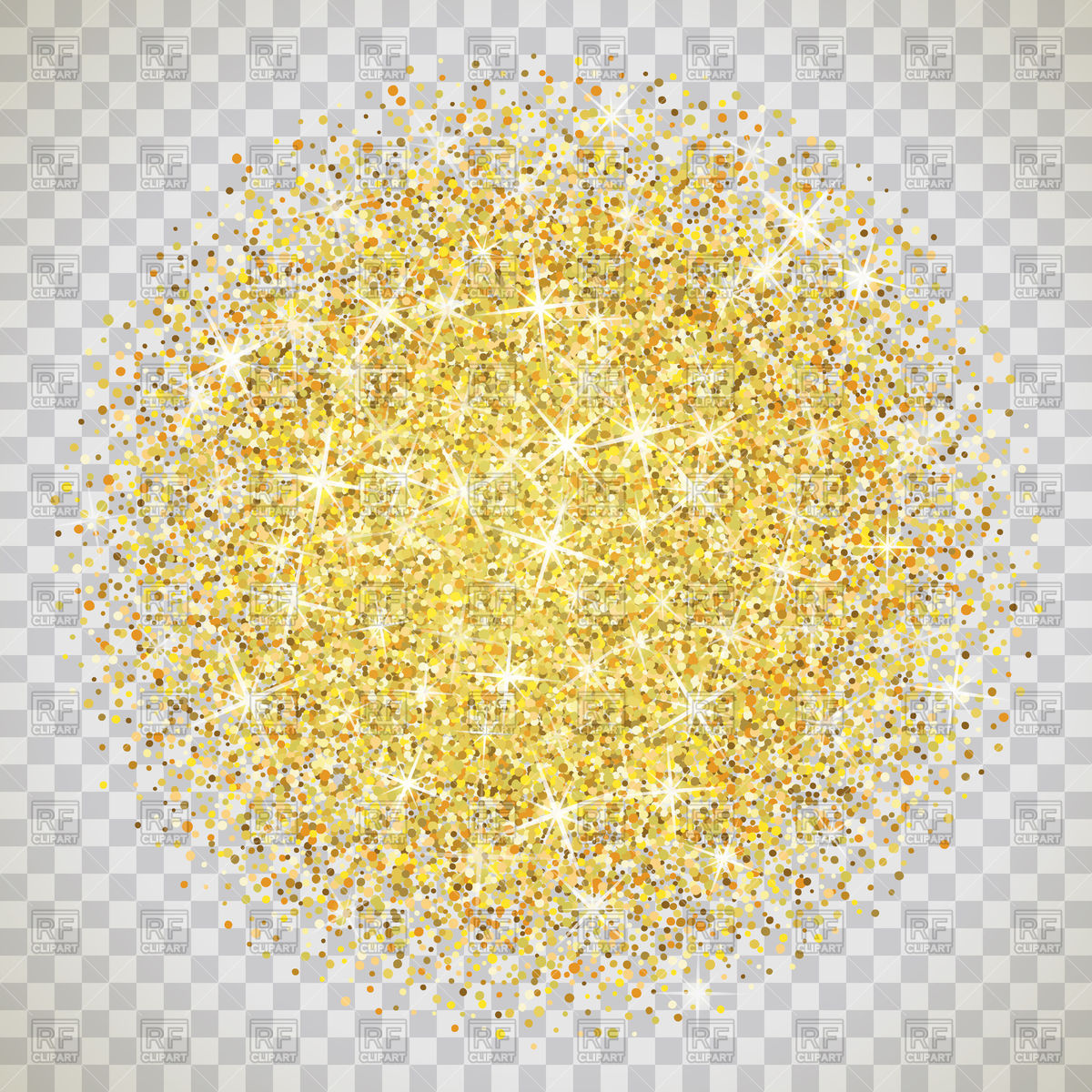 Gold glitter on transparent background Stock Vector Image.