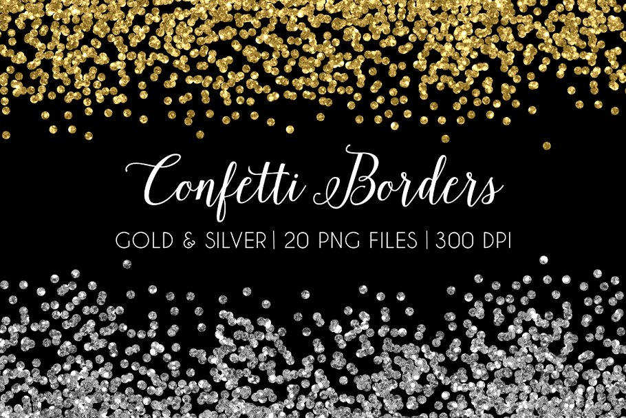 Glitter Confetti Border Gold Silver.