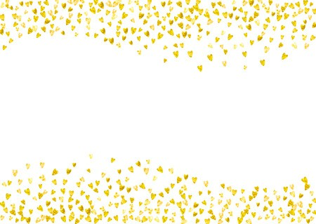 Valentine day border with gold glitter sparkles. February.