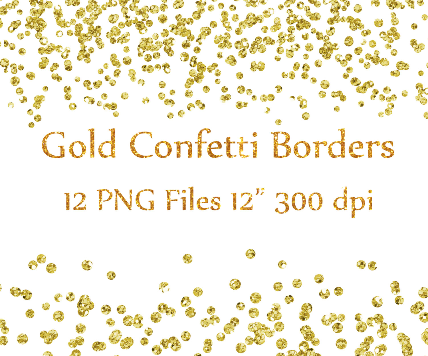 Gold Confetti Borders clipart: GLITTER CONFETTI by.