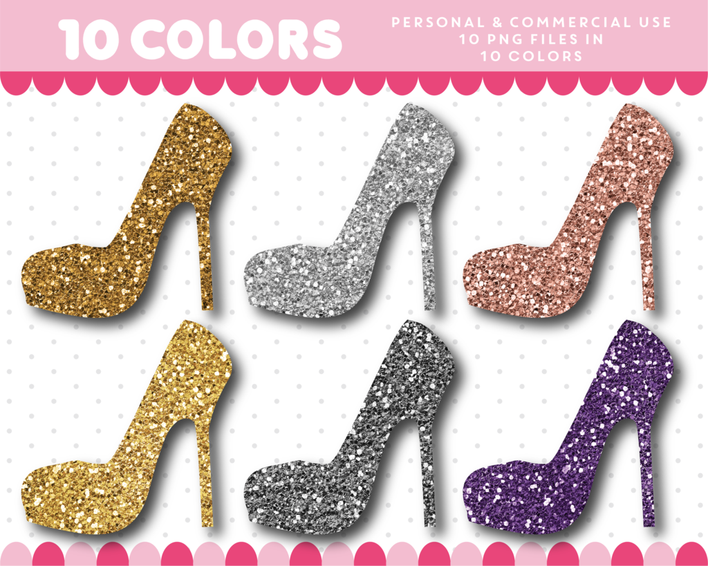 High heels clipart in gold and silver glitter, Glitter.