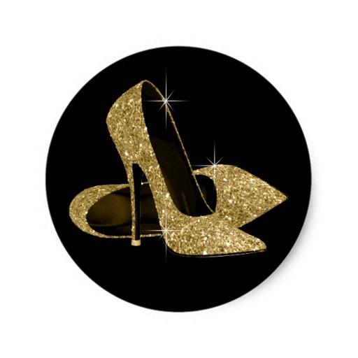 Black And Gold High Heel Shoe Stickers R C E E F V Waf Byvr.